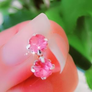 Jewelry - #1275 Silver Studded Earrings Pink Crystal